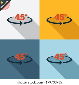 Angle 45 degrees sign icon. Geometry math symbol. Four squares. Colored Flat design buttons. Vector