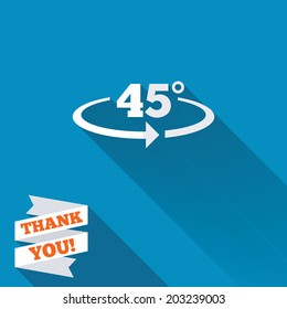 Angle 45 degrees sign icon. Geometry math symbol. White flat icon with long shadow. Paper ribbon label with Thank you text. Vector