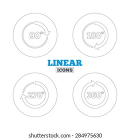Angle 45-360 degrees circle icons. Geometry math signs symbols. Full complete rotation arrow. Linear outline web icons. Vector