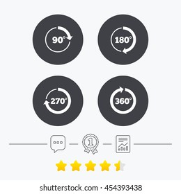 Angle 45-360 degrees circle icons. Geometry math signs symbols. Full complete rotation arrow. Chat, award medal and report linear icons. Star vote ranking. Vector