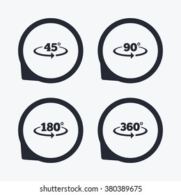 Angle 45-360 degrees icons. Geometry math signs symbols. Full complete rotation arrow. Flat icon pointers.