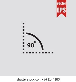 Angle of 90 degrees icon in trendy isolated on grey background.Vector illustration.