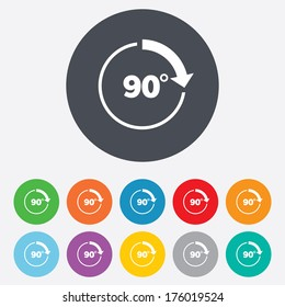 Angle 90 degrees sign icon. Geometry math symbol. Right angle. Round colourful 11 buttons. Vector