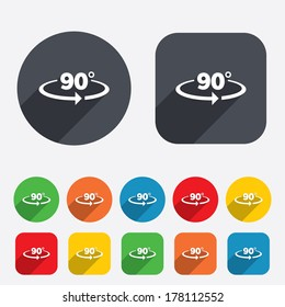 Angle 90 degrees sign icon. Geometry math symbol. Right angle. Circles and rounded squares 12 buttons. Vector