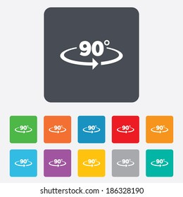 Angle 90 degrees sign icon. Geometry math symbol. Right angle. Rounded squares 11 buttons. Vector