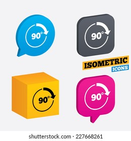 Angle 90 degrees sign icon. Geometry math symbol. Right angle. Isometric speech bubbles and cube. Rotated icons with edges. Vector