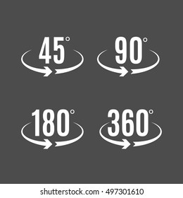 Angle degrees icons vector design. Arrows rotation circle symbol. Geometry measure.