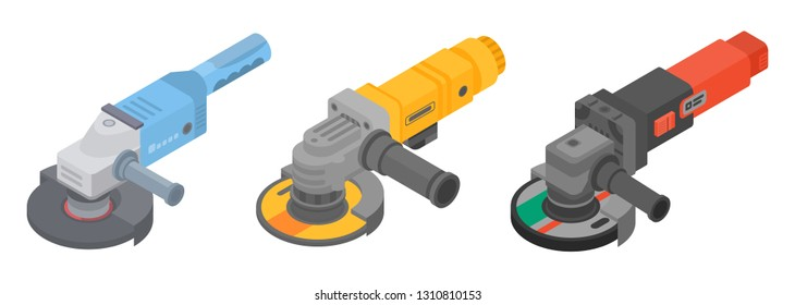 Angle grinder icons set. Isometric set of angle grinder vector icons for web design isolated on white background