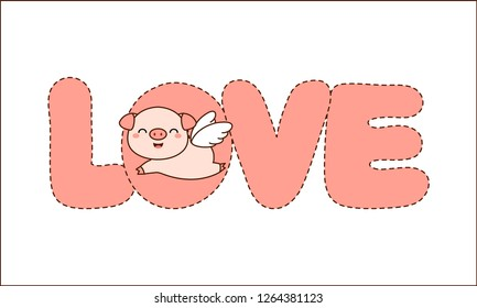 Angle Pig with LOVE. Valentine greeting card.