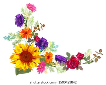 Angled autumn's frame: orange, yellow sunflowers, red roses, purple asters (Michaelmas daisy), gerbera daisy flowers, twigs on white background. Digital draw, illustration in watercolor style, vector