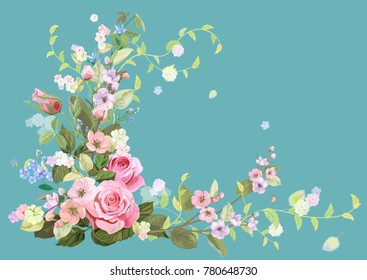 Angled frame with roses, spring blossom (bloom), branches with mauve, pink apple tree flowers, buds, green leaves on blue background. Digital draw, illustration in watercolor style, vintage, vector