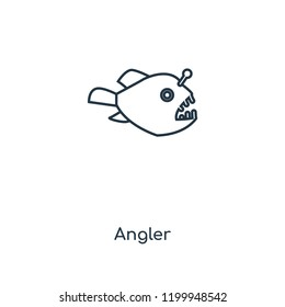 Angler concept line icon. Linear Angler concept outline symbol design. This simple element illustration can be used for web and mobile UI/UX.