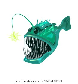Angler fish is bony predatory fish with large head that bear enormous, crescent-shaped mouth full of fang-like teeth and long filament. Marine creature, beast, monster. Vector on white.