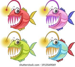 Angler Fish cartoon character isolated on white background illustration