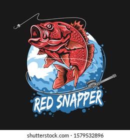 ANGLER FISH RED SNAPPER FISHERMAN ARTWORK VECTOR