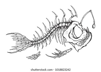 Angler fish skeleton mascot. Vector illustration of fish skeleton in ink technique.