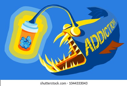 angler fish using pills in a bottle as a lure, prescription drug addiction concept