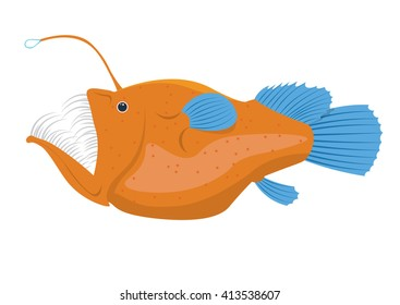 angler fish vector illustration isolated on a white background
