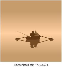 angler in fishing boat
