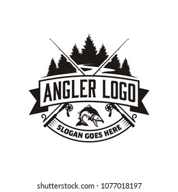 Angler / Fishing Emblem Logo design inspiration