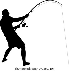 angler with fishing rod silhouette