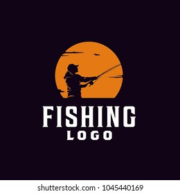 Angler Fishing Silhouette logo illustration at Sunset Outdoor design inspiration