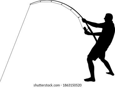 angler silhouette - clip art illustration