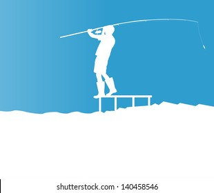 Angler vector blue background concept landscape