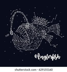 anglerfish, Fish lantern, Deepwater pugilist, Constellation, stars, predator, vector