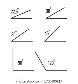 Angles. 30, 35, 45,90,120 degrees angles. Angles icons of white background. Vector