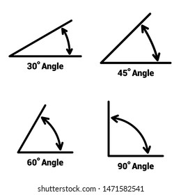 Angles icons set on white background. Vector