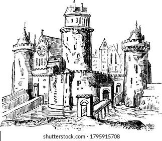 Anglo-Saxon Feudal castle, vintage line drawing or engraving illustration.