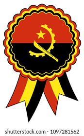 Angola Award Ribbon vector in the original national colours red, gold and black. Representing Republic of Angola in Africa.