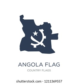 Angola flag icon. Trendy flat vector Angola flag icon on white background from Country Flags collection, vector illustration can be use for web and mobile, eps10
