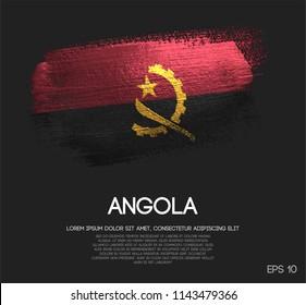 Angola Flag Made of Glitter Sparkle Brush Paint Vector