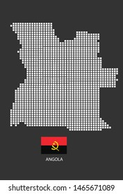 Angola map design white square, black background with flag Angola.