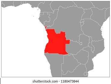 Angola map on gray base
