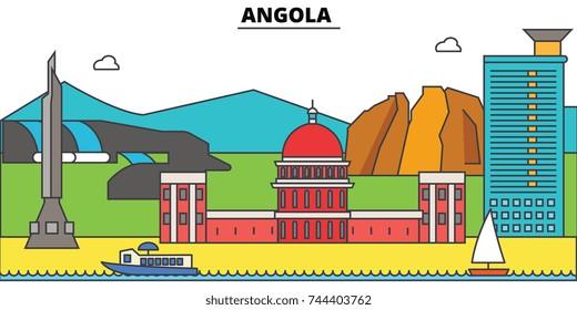 Angola  outline city skyline, linear illustration, banner, travel landmark, buildings silhouette,vector