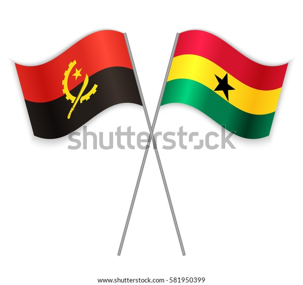 Angolan and Ghanaian crossed flags. Angola combined with Ghana isolated on white. Language learning, international business or travel concept.