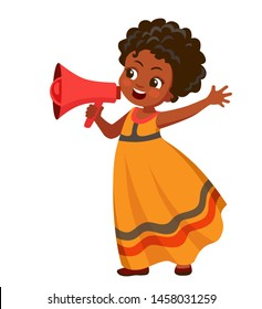 angry african girl screaming into a megaphone. Cartoon vector illustration