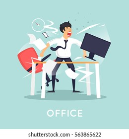 Angry and annoyed businessman in office. Flat vector illustration in cartoon style.