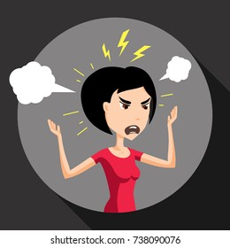 Angry Annoyed Furious Enraged Woman Customer Buyer Shopper Character Vector Art Design Illustration