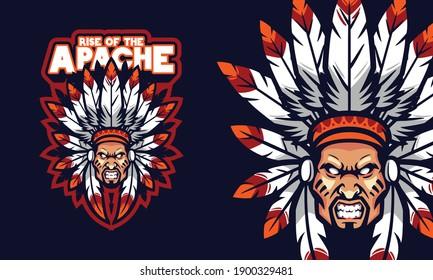 angry apache chief head sports logo mascot illustration