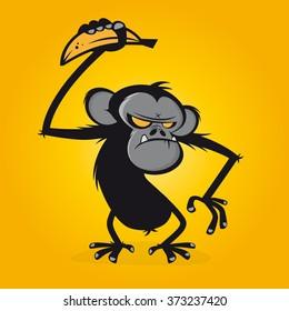 angry ape with banana