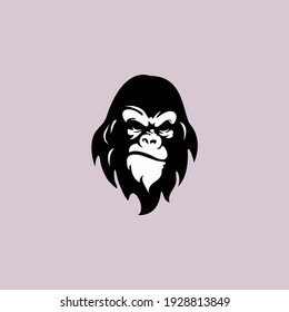 angry ape head logo template vector