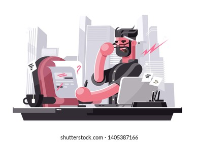 Angry art director vector illustration. Evil boss sitting at workplace in office and correcting mistakes in text flat style concept. Creative man dissatisfied with work of subordinates