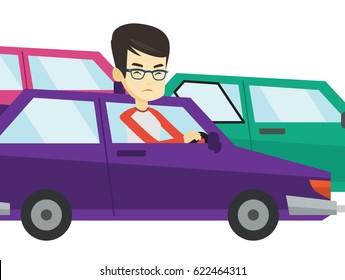 Angry asian car driver stuck in traffic jam. Irritated young man driving a car in traffic jam. Agressive driver honking in a traffic jam. Vector flat design illustration isolated on white background.