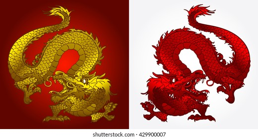 Angry Asian Chinese dragon gold and red on burgundy and white background