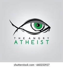 the angry atheist - atheism a non prophet organization - logotype logo template