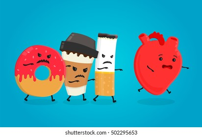 Angry bad donut, coffee paper cup and cigarette kill attack healthy heart. Nightmare health heart. Vector flat cartoon character isolated illustration. Concept icon for infographics about heart